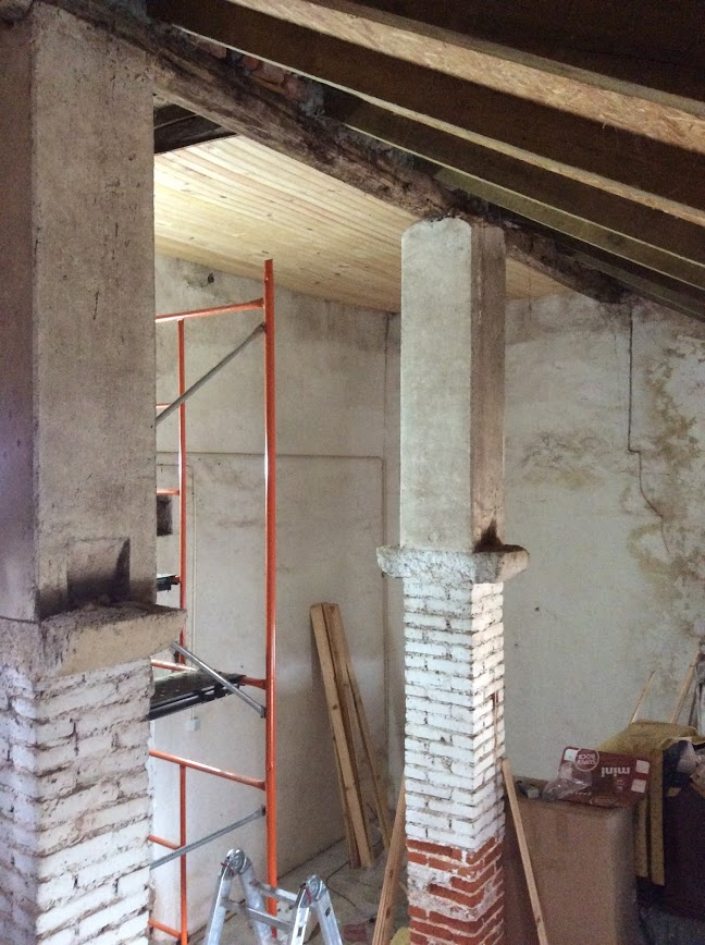 Repairing an old wooden ceiling. Renovation of an old manor house, Portugal