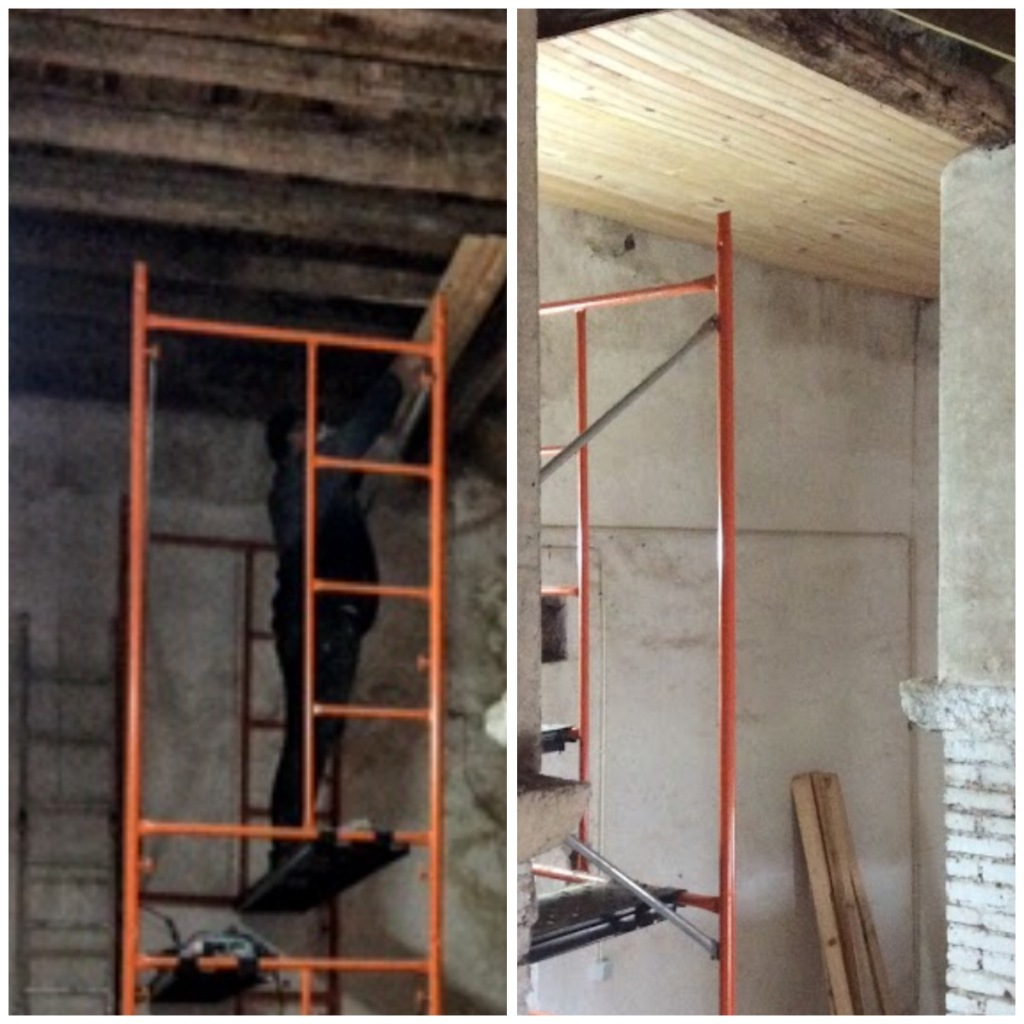 Improving an old wooden ceiling. Renovation of am old manor house. Portugal