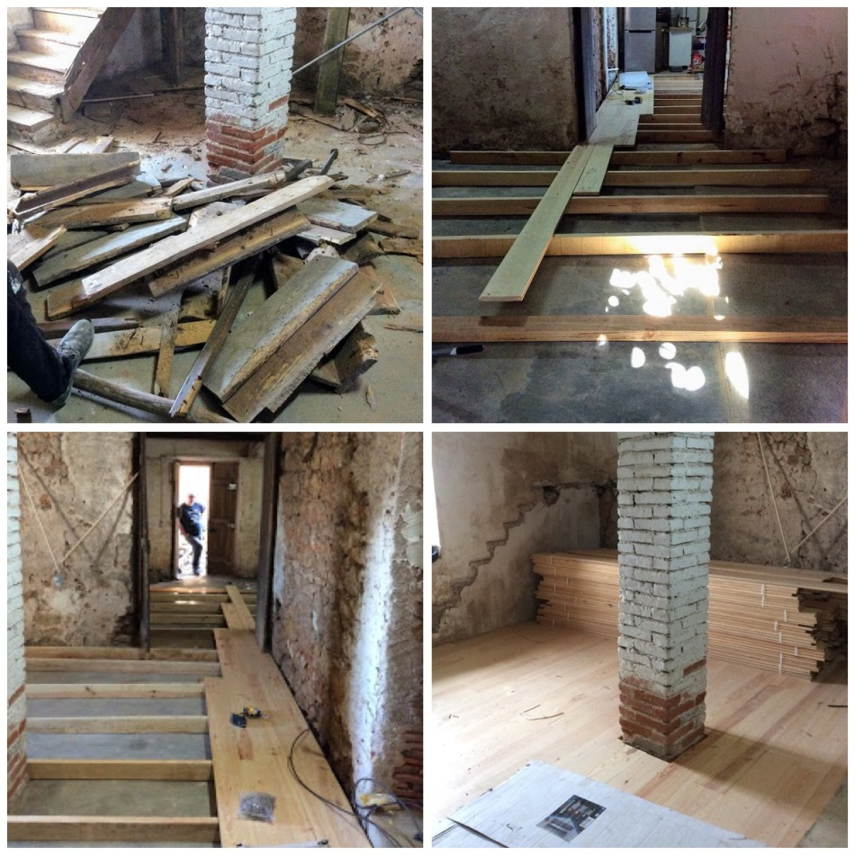 new floor going down in the old manor house, portugal