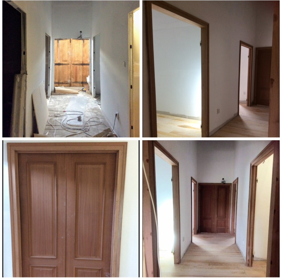 Before and after new doors. Renovation of an old manor house