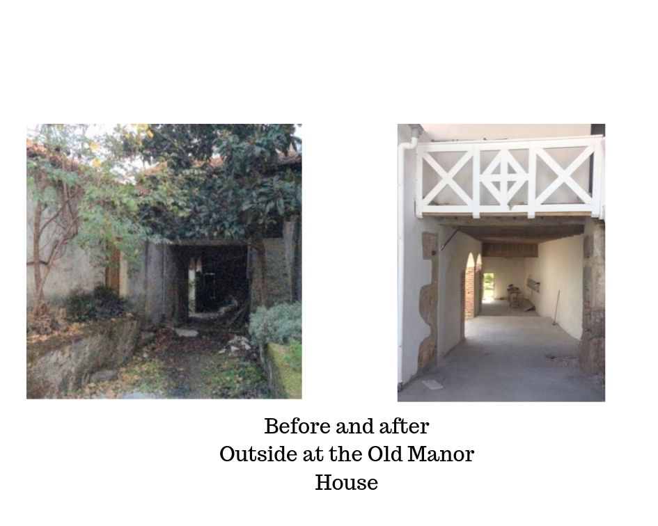Before and after Outside at the Old Manor House